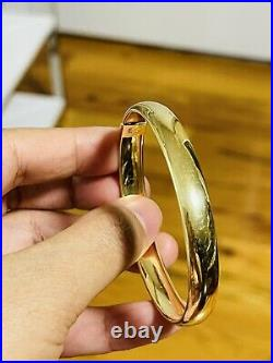 18K Saudi Real Fine UAE Gold WOMEN'S Bangle Bracelet 6-7 Long Sm/Med 9mm 8.84g