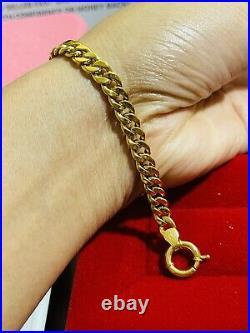 18K Saudi Real Fine UAE Gold WOMEN'S Cuban Bracelet FITS 7 Long Medium 6mm 6.2g