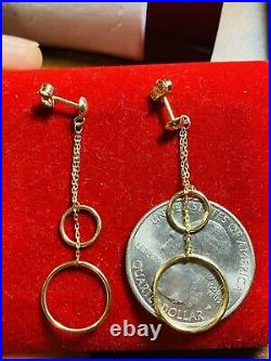 18K Saudi Yellow 750 Gold Fine Womens Dangle Earring 2.2g 1.8 Long USA SELLER