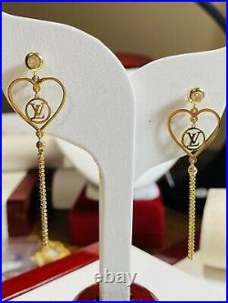 18K Saudi Yellow 750 Gold Fine Womens Dangle Earring 3.2g 2.2 Long USA SELLER