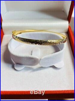 18K Yellow 750 Gold Fine Womens Bangle Bracelet Fits 6-7 Small / Medium 5mm