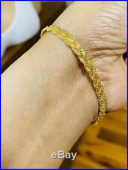 18K Yellow 750 Yellow Gold Fine Womens Bracelet Fits 7.5 4mm USA Seller