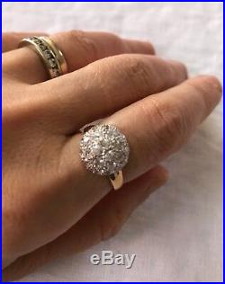 18k Solid Gold Ring Dome-shaped With Simulated Diamond Stones Size 5.5 Looks New