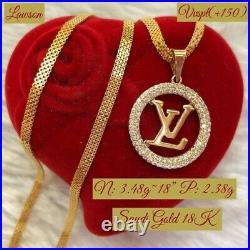 18karat Women's Genuine Gold Bismark Chain Necklace & Chanel Pendant