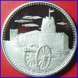 1970 UMM AL QAIWAIN 2 RIYALS SILVER PROOF CANNON 19th CENTURY FORT UAE RARE COIN