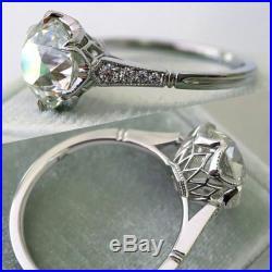 2.75cts white round cut diamond engagement wedding 14k gold uniquie vintage ring