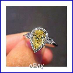 2.85 carat fancy intense yellow halo pear engagement 14k white gold diamond ring