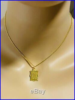 21K 875 FINE Saudi Gold Fine 16 Long WOMEN'S Book Necklace 2mm USA Seller