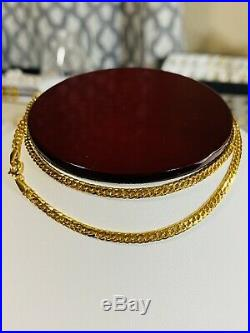 21K 875 FINE Saudi Gold Fine WOMEN'S Curb Necklace With 18 Chain 3mm USA Seller