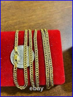 21K 875 Fine Saudi Gold Unisex Mens Women's Curb Necklace With 24 3.5mm 10.14g