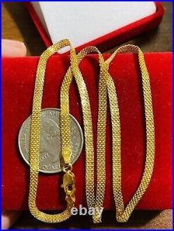 21K 875 Fine Saudi Gold Women's 20 Long Flat Chain Necklace 5.1g 3.2mm FastShip