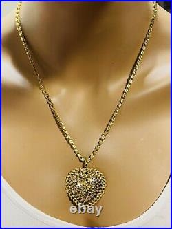 21K 875 Fine Saudi Gold Women's 20 Long Heart Damascus Necklace 17.2g 3.2mm