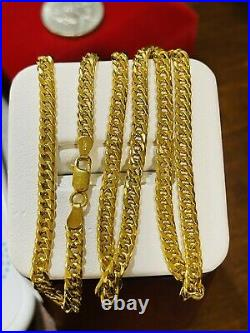 21K Fine 857 Yellow Gold Womens Curb Necklace With 20 Long 4mm 10.82g Fast-ship