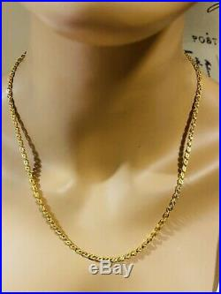 21K Fine 875 Saudi Gold Women's Damascus Necklace With 20 Long 3.2mm 11.62g