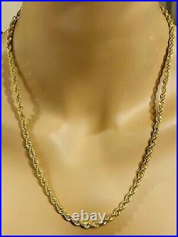 21K Fine 875 Saudi Gold Women's Rope Necklace With 22 Long 4mm 11.9g FastShip