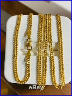 21K Fine Real Gold Womens Chain Necklace With 18 2.5mm USA Seller