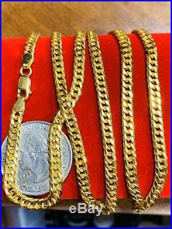 21K Fine Real Yellow Gold Cuban Mens Chain Necklace With 24 Long 4mm USA Seller