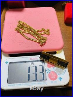 21K Fine Saudi Gold 875 Mens Cuban Necklace With 24 Long 4mm 13.3g Fast Ship