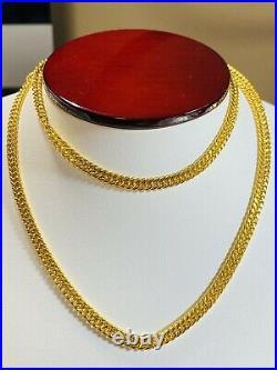 21K Fine Saudi Gold Mens Women Cuban Necklace With 20 Long 11.31g 4mm Free ship