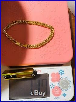 21K Fine Saudi Gold Unisex Mens Womens Bracelet 8 Long 6.5mm USA Seller