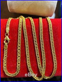 21K Fine Saudi Gold Womens Curb Chain Necklace With 20Long 3.2mm USA Seller 7g