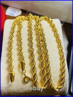 21K Fine Saudi Gold Womens Rope Chain Necklace With 18 Long 3.2mm 7g Fastship