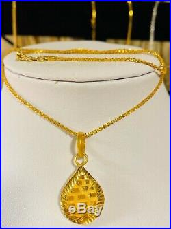 21K Fine Yellow Gold Fine Set Necklace With 18 Long Chain 1.6 Mm USA Seller