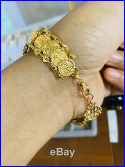 21K Gold Coin Womens Bracelet 7.5-8 Adjustable Medium/Large USA Seller