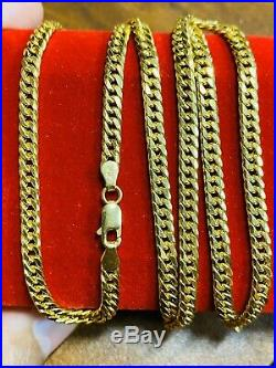 21K Saudi 875 Gold Fine Mens Cuban Necklace With 22 Long Chain 4mm USA Seller