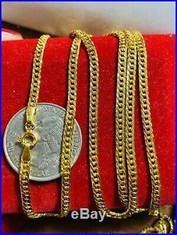 21K Saudi 875 Gold Fine Mens Cuban Necklace With 24 Long Chain 3.2mm 6.64g