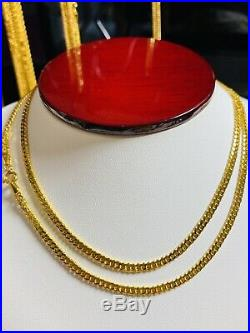 21K Saudi 875 Gold Fine Mens Cuban Necklace With 24 Long Chain 3.2mm 6.8g