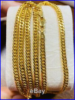 21K Saudi 875 Gold Fine Mens Cuban Necklace With 24 Long Chain 4mm USA Seller