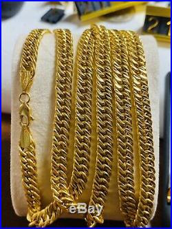 21K Saudi 875 Gold Fine Mens Cuban Necklace With 24 Long Chain 5.5mm 21.23g