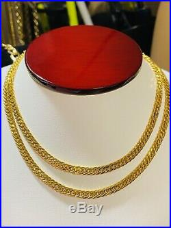 21K Saudi 875 Gold Fine Mens Curb Necklace With 24 Long 4mm 12.9g Free Ship