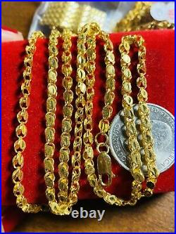 21K Saudi 875 Gold Fine Mens Damascus Necklace With 24Long 3mm 14.33g Free Ship