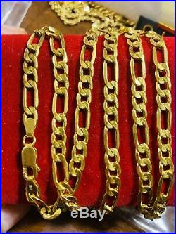 21K Saudi 875 Gold Fine Mens Figaro Necklace With 22 Long Chain 5mm USA Seller