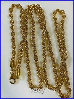 21K Saudi 875 Gold Fine Mens Rope Necklace With 22 Long Chain 3.2mm USA Seller