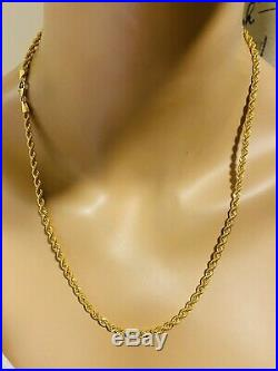 21K Saudi 875 Gold Fine Mens Rope Necklace With 22 Long Chain 4mm USA Seller