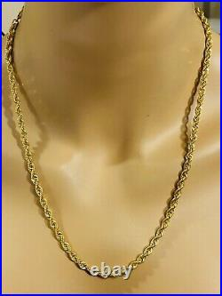 21K Saudi 875 Gold Fine Mens Womens Rope Necklace With 22 Long 4mm 11.9g