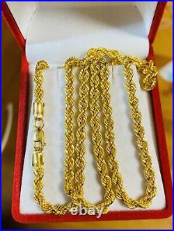 21K Saudi 875 Gold Fine Mens Womens Rope Necklace With 22 Long Chain 4mm 11.6g
