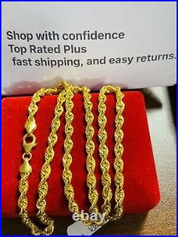 21K Saudi 875 Gold Fine Mens Womens Rope Necklace With 22 Long Chain 4mm 11.9g