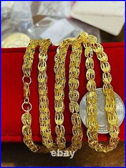 21K Saudi 875 Real Gold Fine 22 Long Mens Womens Damascus Necklace 14.76g 5mm