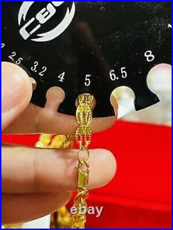 21K Saudi 875 Real Gold Fine 24 Long Mens Womens Damascus Necklace 16.38g 5mm