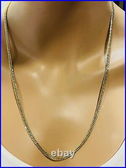 21K Saudi 875 Real Gold Fine Mens Womens Cuban Necklace With 24long 10.14g 3.5mm