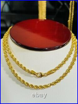 21K Saudi 875 Real Gold Fine Womens 18 Long Chain Rope Necklace 3.2mm 6.45g