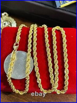 21K Saudi 875 Real Gold Fine Womens 20 Long Chain Rope Necklace 3.2mm 7.22g