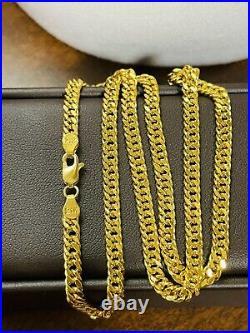 21K Saudi 875 Real Gold Fine Womens Cuban Chain Necklace 18 Long 4mm 11g