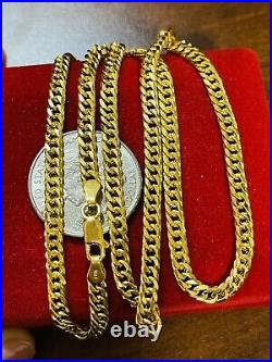 21K Saudi 875 Real Gold Fine Womens Cuban Necklace With 20 Long 4mm 10.83g
