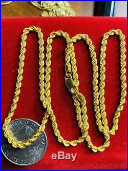 21K Saudi Gold Rope Chain Necklace With 20 Long