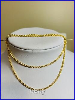 21K Saudi Gold Rope Necklace With 20 Long